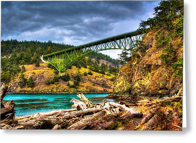 Deception Beach Greeting Cards - The Deception Pass Bridge II Greeting Card by David Patterson