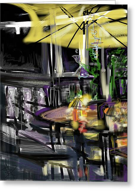 Night Lamp Greeting Cards - The Deck Greeting Card by Russell Pierce