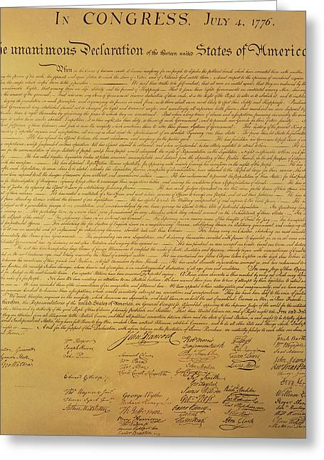 July Fourth Greeting Cards - The Declaration of Independence Greeting Card by Founding Fathers