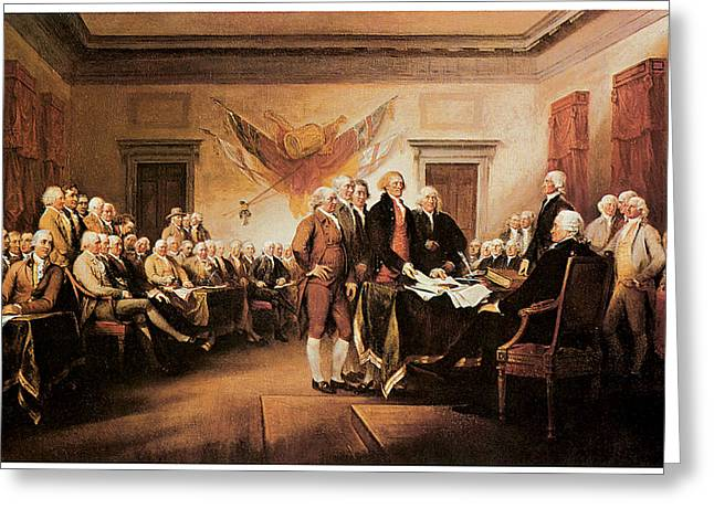 4 July Greeting Cards - The Declaration of Independence Greeting Card by John Trumbull