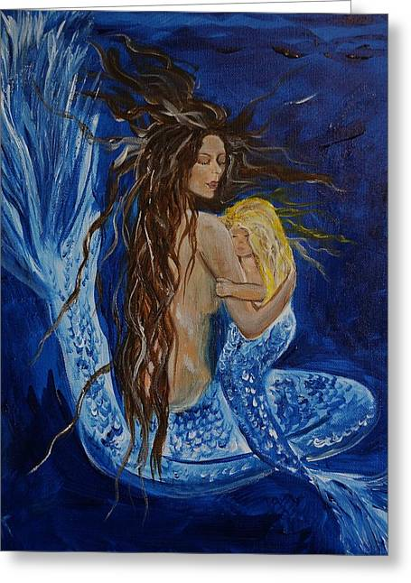 Sleeping Mermaid Greeting Cards - The Deepest Love Greeting Card by Leslie Allen