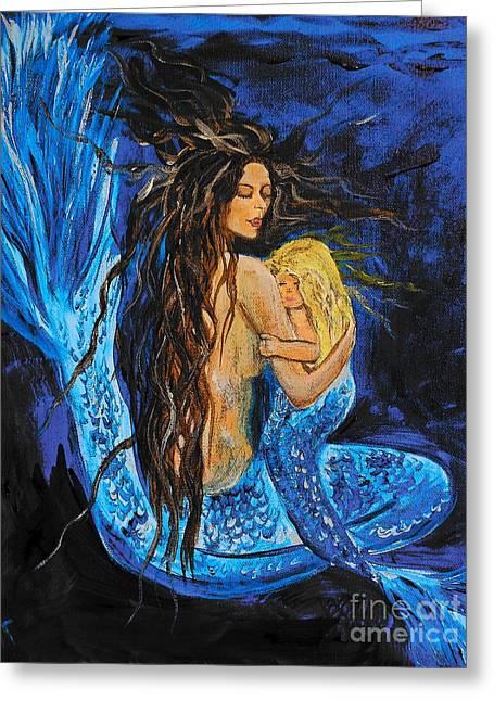 Sleeping Mermaid Greeting Cards - The Deepest Love Series 2 Greeting Card by Leslie Allen