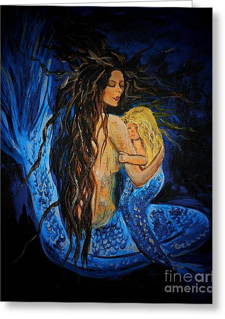 Picture Of Mermaids Greeting Cards - The Deepest Love Series 3 Greeting Card by Leslie Allen