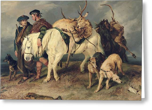 Hound Hounds Greeting Cards - The Deerstalkers Return Greeting Card by Sir Edwin Landseer