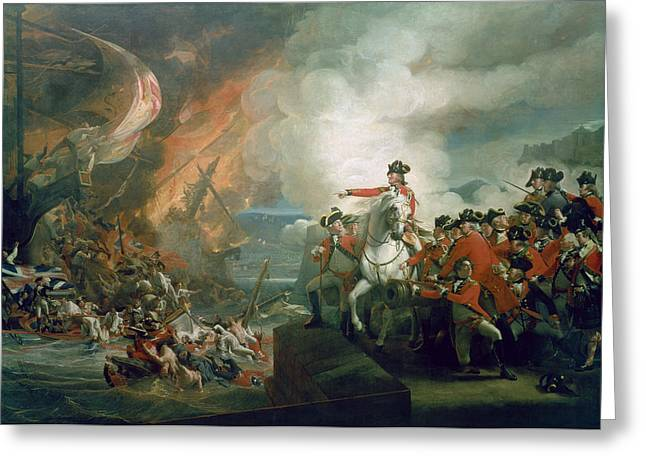 Recently Sold -  - Ocean Sailing Greeting Cards - The Defeat of the Floating Batteries at Gibraltar Greeting Card by John Singleton Copley