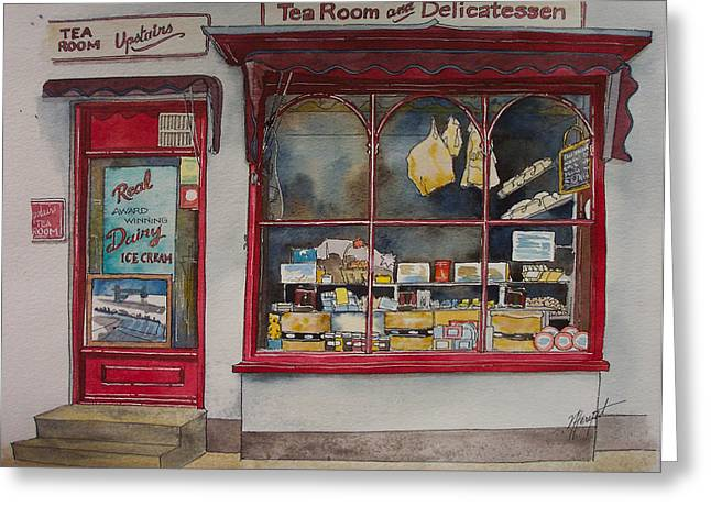 Deli Greeting Cards - The Deli Tea Room Greeting Card by Victoria Heryet