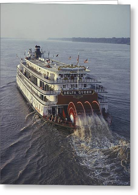 Paddle Wheel Greeting Cards - The Delta Queen, A Steamboat, Makes Greeting Card by Ira Block