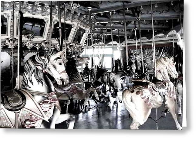 Amusements Pyrography Greeting Cards - The Dentzel Carousel - Glen Echo Park Greeting Card by Fareeha Khawaja