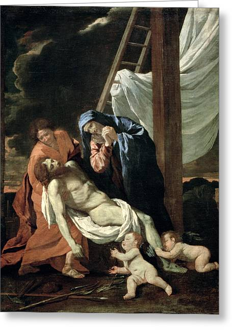 Virgin Mary Greeting Cards - The Deposition Greeting Card by Nicolas Poussin