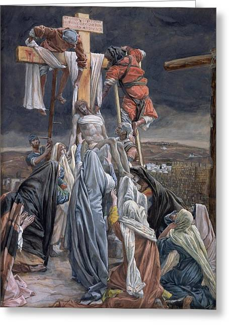 James Paintings Greeting Cards - The Descent from the Cross Greeting Card by Tissot