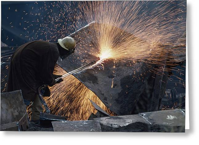 Hard Hats Greeting Cards - The Destruction Of A Steel Mill Greeting Card by Lynn Johnson
