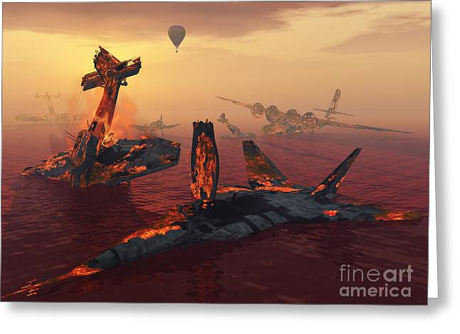 Water Vessels Greeting Cards - The Destruction Of Fighter Planes Greeting Card by Mark Stevenson