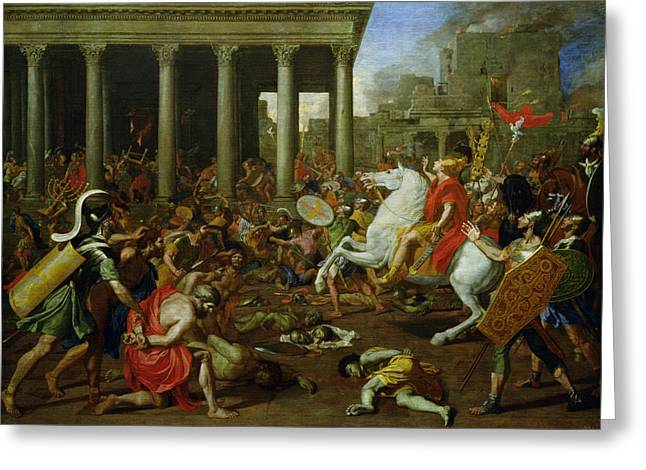 Prisoner Paintings Greeting Cards - The Destruction of the Temples in Jerusalem by Titus Greeting Card by Nicolas Poussin