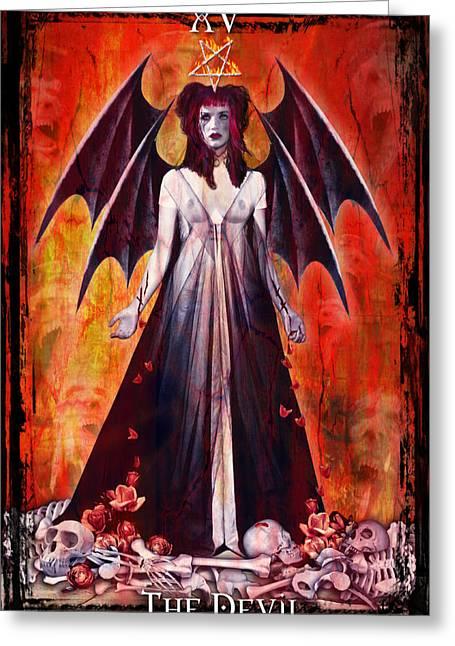 Divine Feminine Greeting Cards - The Devil Greeting Card by Tammy Wetzel