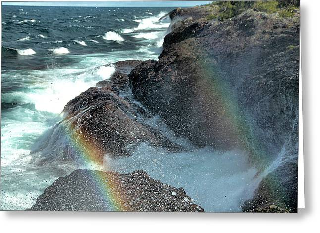Double Rainbow Greeting Cards - The Devils Washtub with Double Rainbow Greeting Card by Matthew Winn