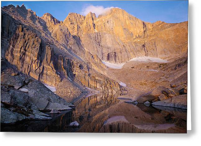 Chasm Lake Greeting Cards - The Diamond of Longs Peak Greeting Card by Nathan Mccreery
