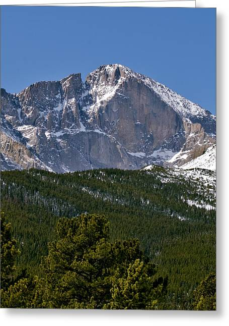 Wall-mounted Greeting Cards - The Diamond on Longs Peak in Rocky Mountain National Park Colorado Greeting Card by Brendan Reals