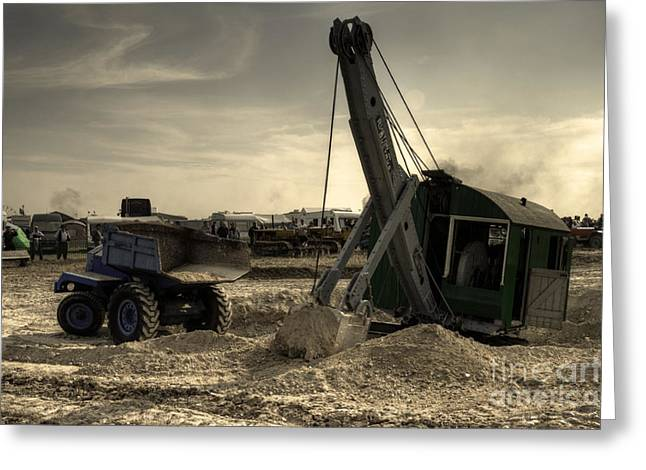 Ruston Greeting Cards - The digger and the dumper Greeting Card by Rob Hawkins