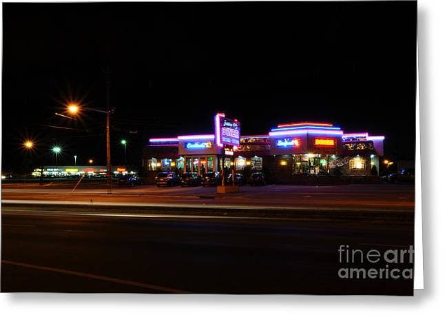 Greasy Greeting Cards - The Diner at Night Greeting Card by Paul Ward