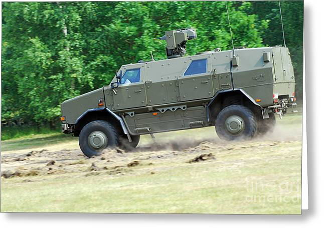 Belgian Army Greeting Cards - The Dingo 2 In Use By The Belgian Army Greeting Card by Luc De Jaeger