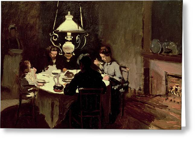 Impressionist Greeting Cards - The Dinner Greeting Card by Claude Monet