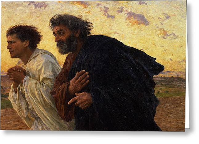 Clasped Greeting Cards - The Disciples Peter and John Running to the Sepulchre on the Morning of the Resurrection Greeting Card by Eugene Burnand