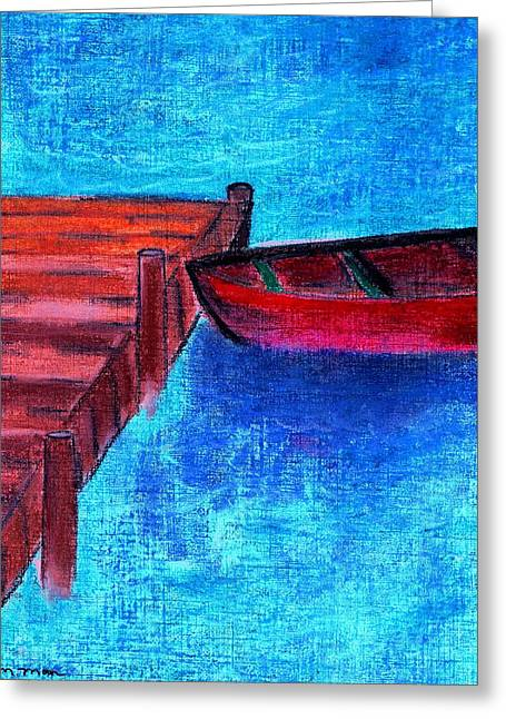 Docked Boat Pastels Greeting Cards - The Dock Greeting Card by Melvin Moon