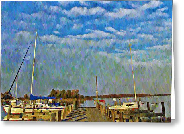 Docked Sailboat Greeting Cards - The Dock of the Bay Greeting Card by Bill Cannon