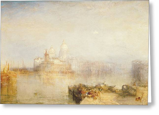 Venetian Architecture Greeting Cards - The Dogana and Santa Maria della Salute Venice Greeting Card by Joseph Mallord William Turner