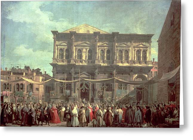 Canaletto Greeting Cards - The Doge Visiting the Church and Scuola di San Rocco Greeting Card by Canaletto
