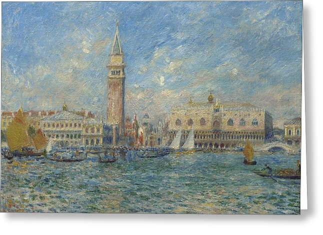 Sailing Ship Greeting Cards - The Doges Palace in Venice  Greeting Card by Pierre Auguste Renoir