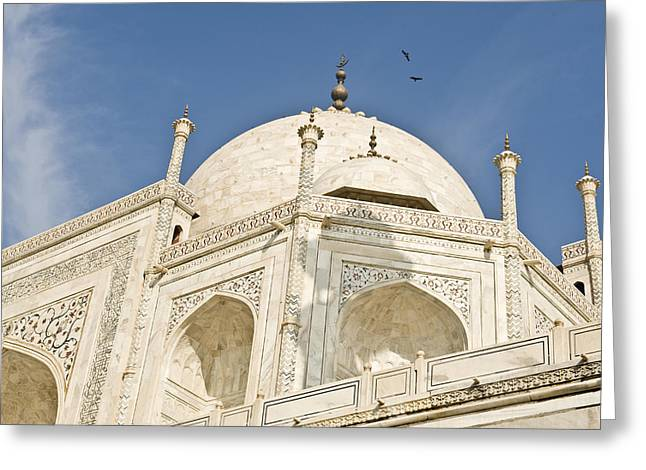 World In Between Greeting Cards - The Dome Of Taj Mahal In The Morning Greeting Card by Lori Epstein