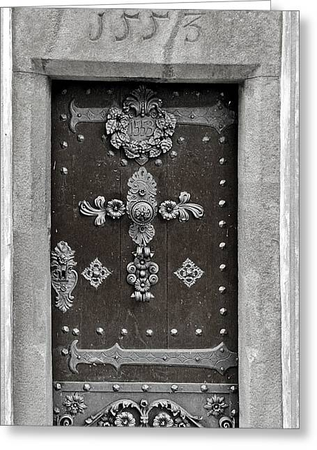 Budejovice Greeting Cards - THE DOOR - Ceske Budejovice Greeting Card by Christine Till