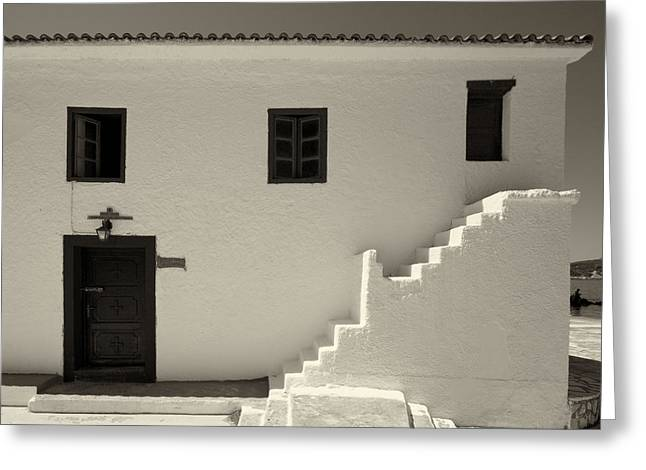 Panagia Greeting Cards - The Door of The Chappel bw Greeting Card by Jouko Lehto