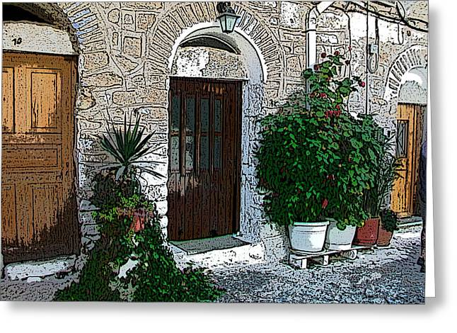 Chios Greeting Cards - The doors - Las puertas Greeting Card by Rezzan Erguvan-Onal