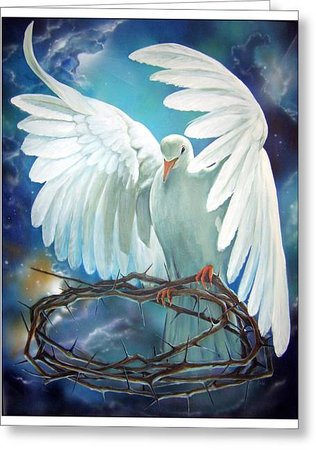 Religious Artwork Paintings Greeting Cards - The Dove Greeting Card by Larry Cole
