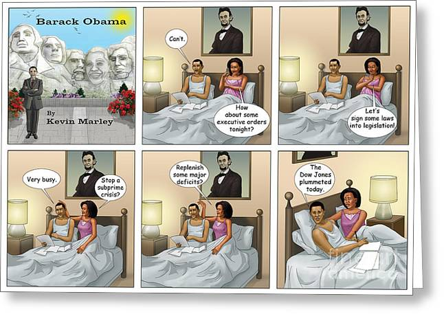 Michelle Obama Digital Art Greeting Cards - The Dow Jones Plummetted Greeting Card by Kevin  Marley