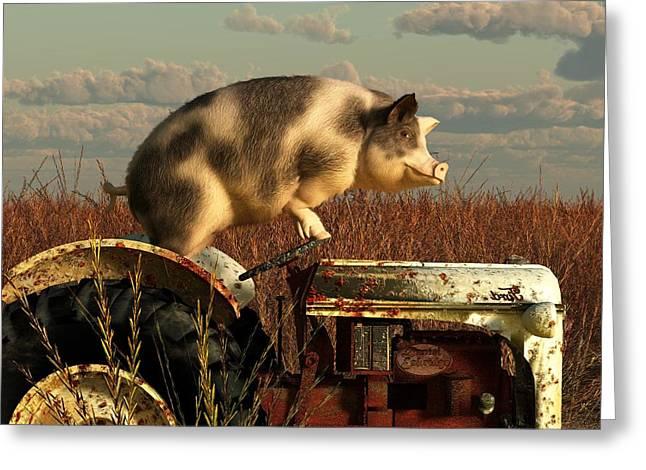 Daniel Eskridge Greeting Cards - The Dream of a Pig Greeting Card by Daniel Eskridge