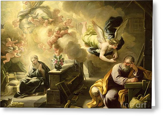 Seraphim Angel Paintings Greeting Cards - The Dream of Saint Joseph Greeting Card by Luca Giordano