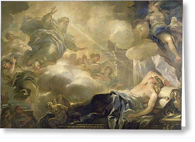 Chaise Greeting Cards - The Dream of Solomon Greeting Card by Luca Giordano