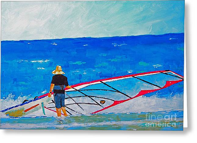 Wind Surfing Art Paintings Greeting Cards - The Dreamer Disease I Greeting Card by Art Mantia