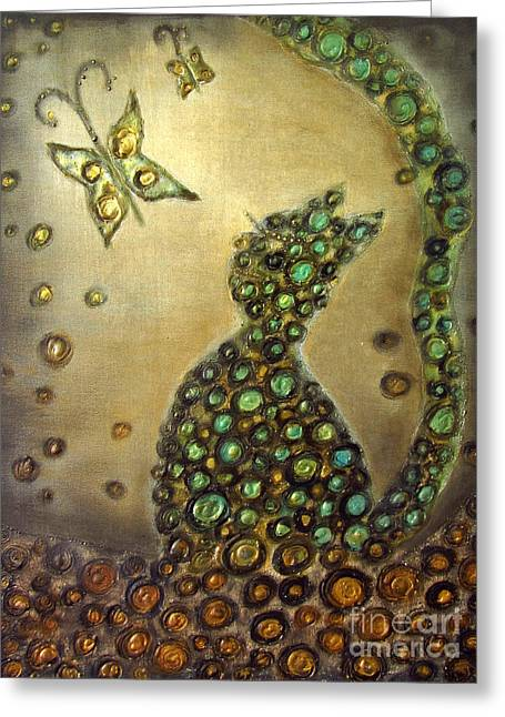 The Dreaming Cat Le Chat Reveur Greeting Card by Rosemary Lim