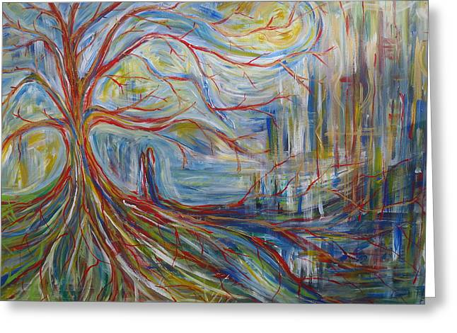 Dave Matthews Paintings Greeting Cards - The Dreaming Tree Greeting Card by Made by Marley