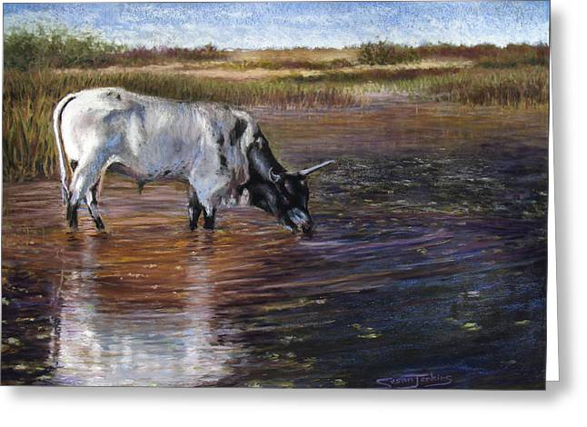 Cattle Pastels Greeting Cards - The Drink Greeting Card by Susan Jenkins