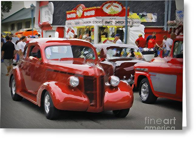 Orange Car Greeting Cards - The Drive Greeting Card by Perry Webster