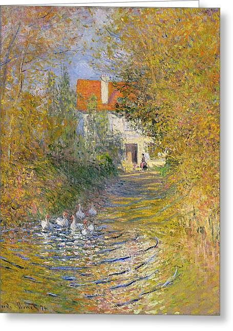 Calm Water Reflection Greeting Cards - The Duck Pond Greeting Card by Claude Monet