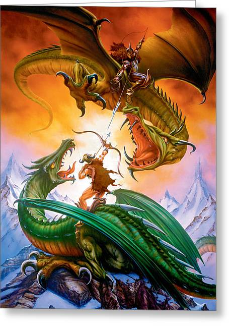Roar Greeting Cards - The Duel Greeting Card by The Dragon Chronicles