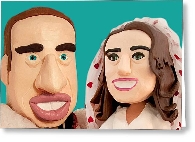 Kate Middleton Sculptures Greeting Cards - The Duke and Duchess of Cambridge Greeting Card by Louisa Houchen
