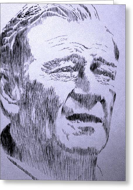 Robbi Musser Pen And Ink Greeting Cards - The Duke Greeting Card by Robbi  Musser