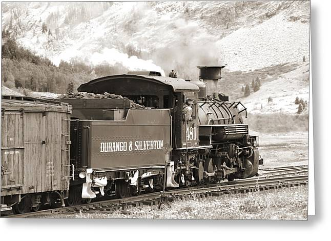 Freight Train Greeting Cards - The Durango and Silverton into the Mountains Greeting Card by Mike McGlothlen